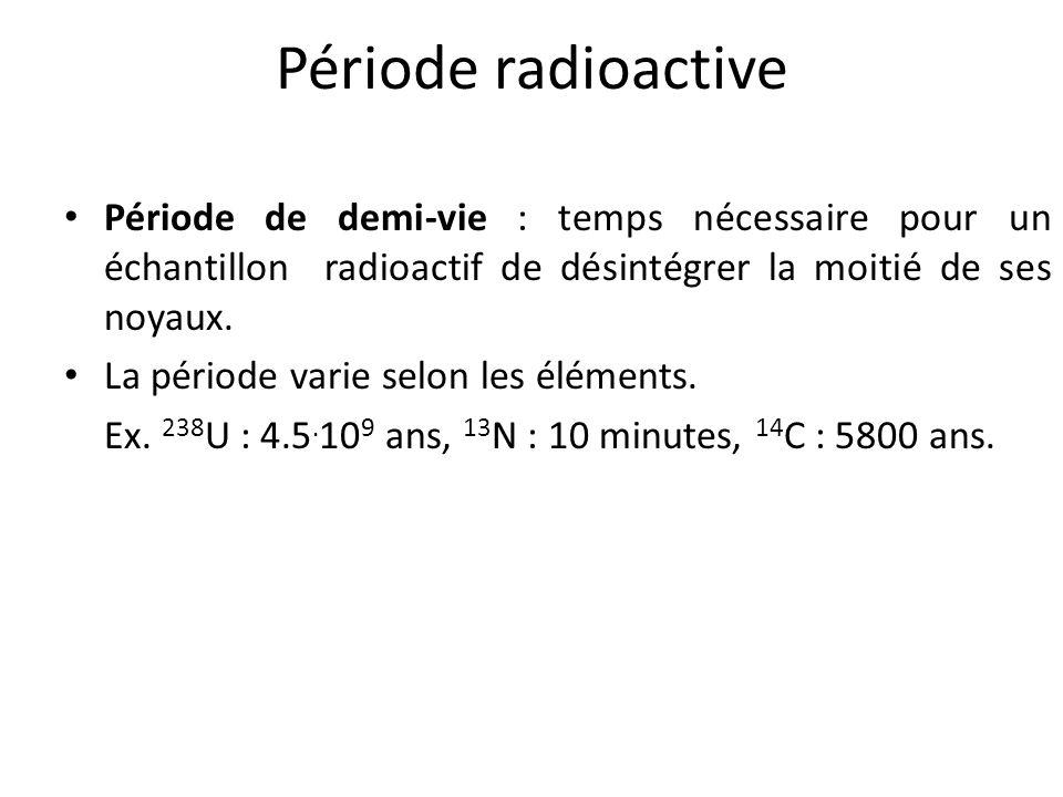 Période radioactive Période de demi-vie : temps nécessaire pour un échantillon radioactif de désintégrer la moitié de ses noyaux. La période varie sel