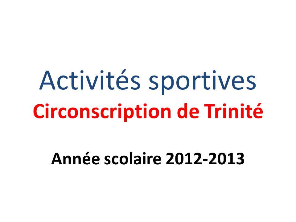 Activités sportives Circonscription de Trinité Année scolaire 2012-2013