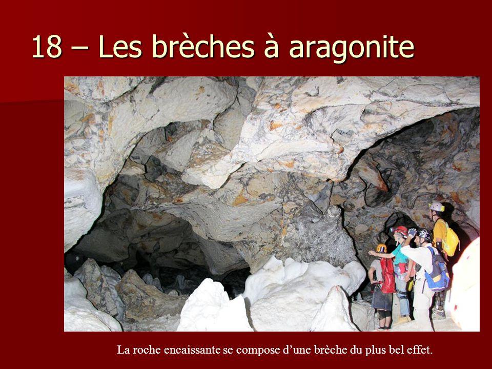 18 – Les brèches à aragonite La roche encaissante se compose d'une brèche du plus bel effet.