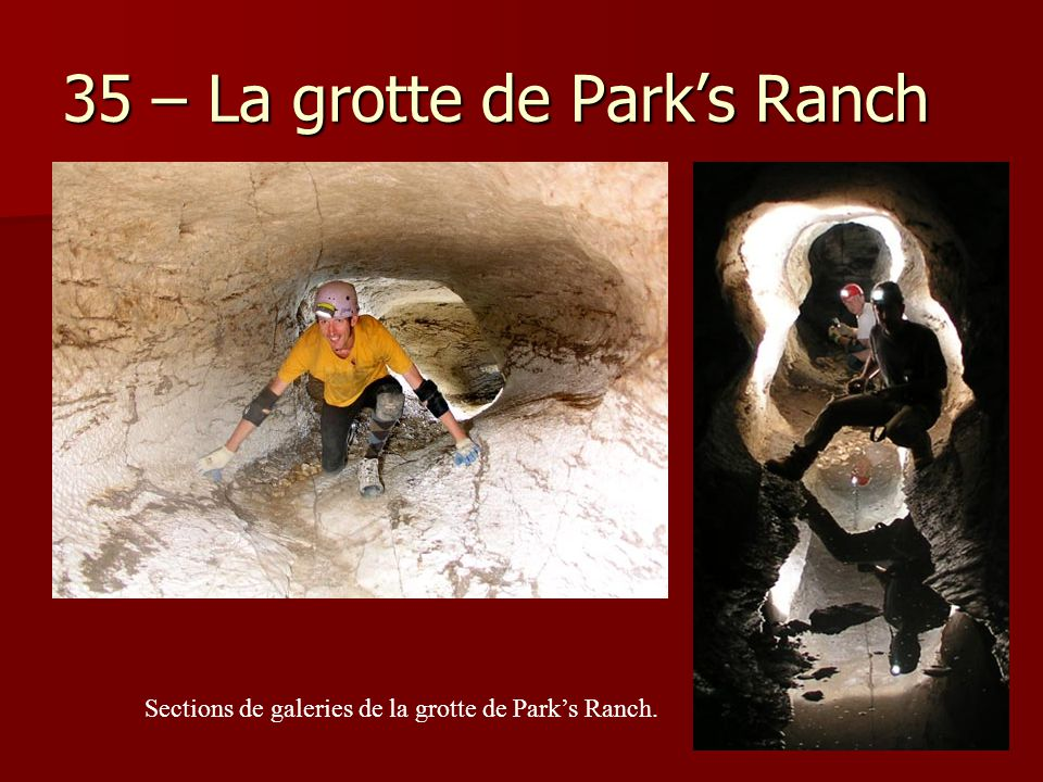35 – La grotte de Park's Ranch Sections de galeries de la grotte de Park's Ranch.