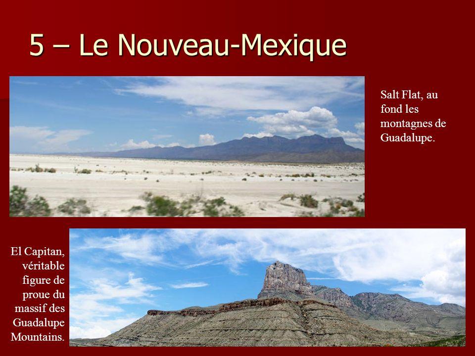 5 – Le Nouveau-Mexique Salt Flat, au fond les montagnes de Guadalupe. El Capitan, véritable figure de proue du massif des Guadalupe Mountains.