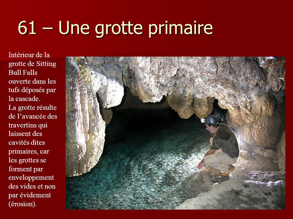 61 – Une grotte primaire Intérieur de la grotte de Sitting Bull Falls ouverte dans les tufs déposés par la cascade. La grotte résulte de l'avancée des