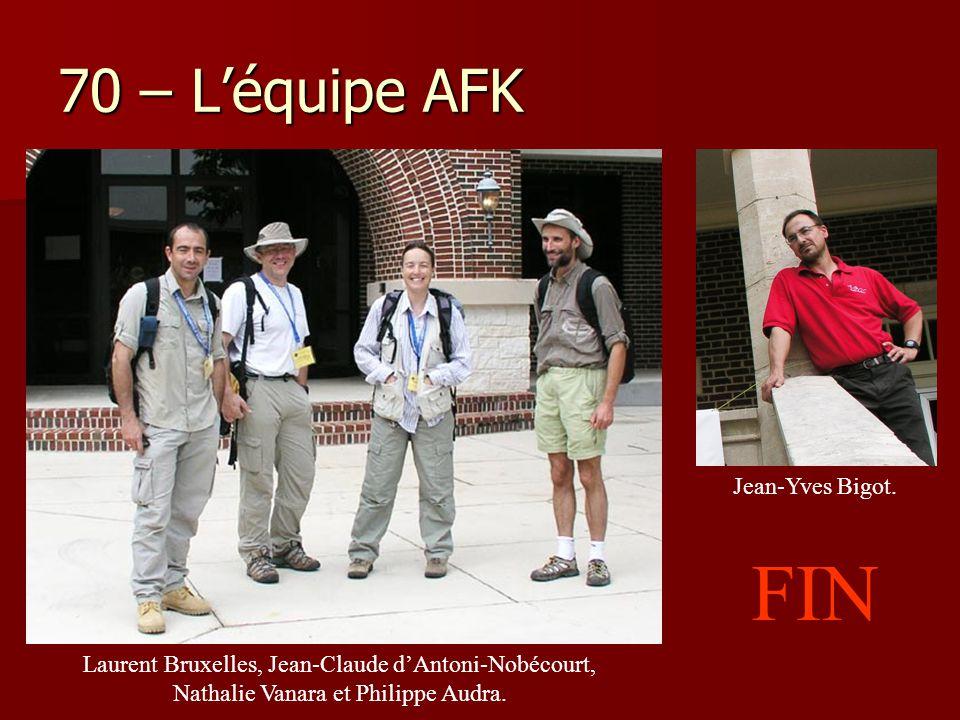 70 – L'équipe AFK Jean-Yves Bigot. Laurent Bruxelles, Jean-Claude d'Antoni-Nobécourt, Nathalie Vanara et Philippe Audra. FIN