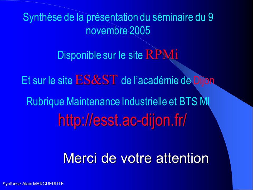 Synthèse: Alain MARGUERITTE Merci de votre attention Synthèse de la présentation du séminaire du 9 novembre 2005 RPMi Disponible sur le site RPMi ES&ST Et sur le site ES&ST de l'académie de Dijon Rubrique Maintenance Industrielle et BTS MI http://esst.ac-dijon.fr/