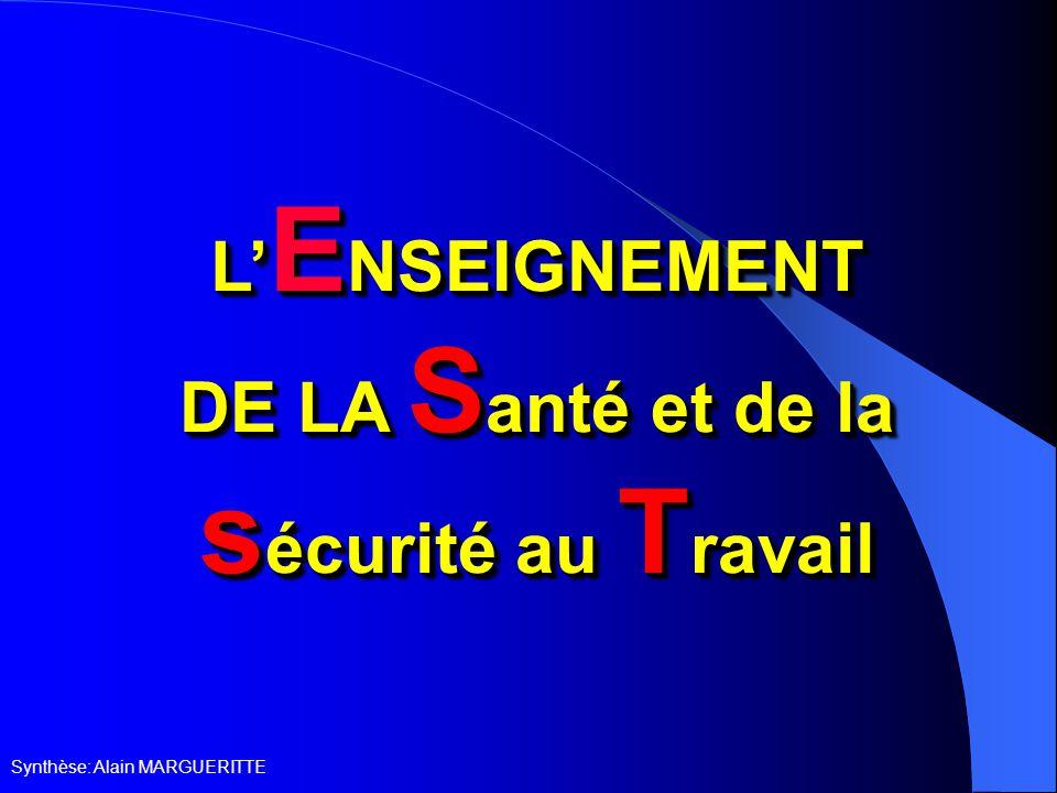 Synthèse: Alain MARGUERITTE L' E NSEIGNEMENT DE LA S anté et de la s écurité au T ravail