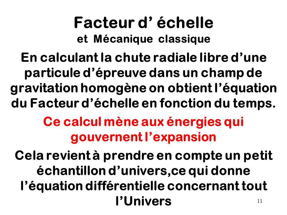 11 Facteur d' échelle et Mécanique classique En calculant la chute radiale libre d'une particule d'épreuve dans un champ de gravitation homogène on ob
