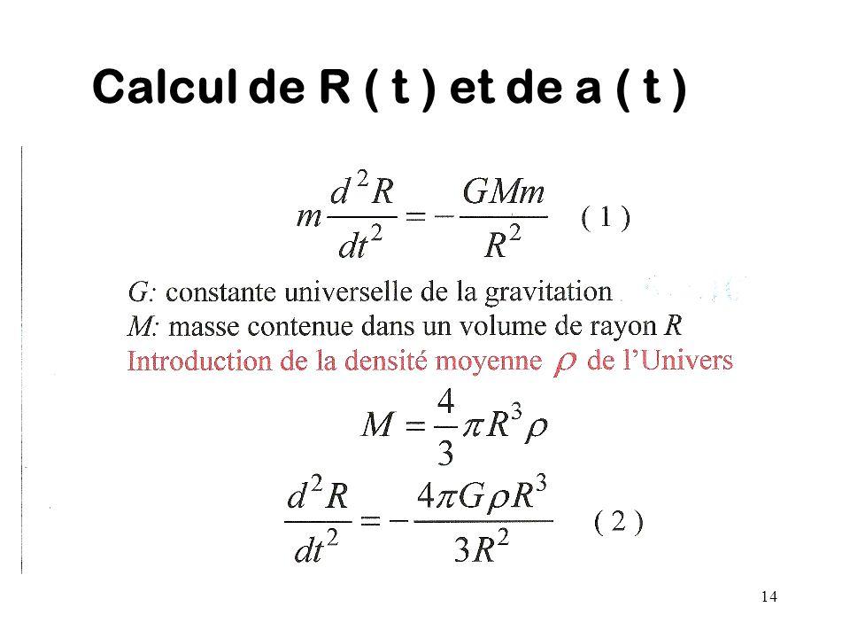 14 Calcul de R ( t ) et de a ( t )