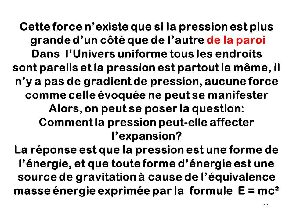 22 Cette force n'existe que si la pression est plus grande d'un côté que de l'autre de la paroi Dans l'Univers uniforme tous les endroits sont pareils