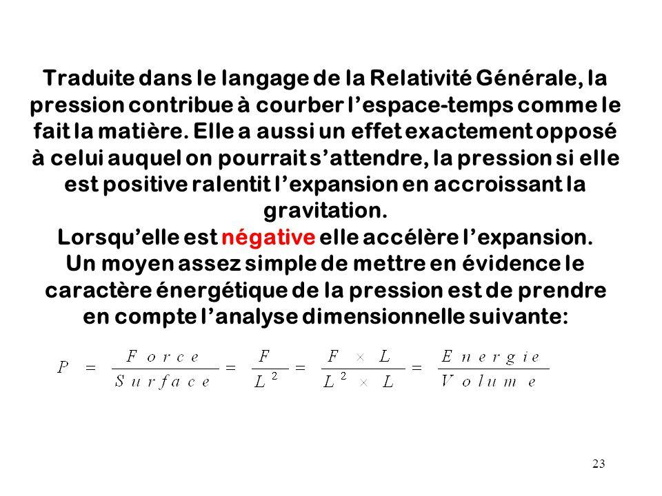 23 Traduite dans le langage de la Relativité Générale, la pression contribue à courber l'espace-temps comme le fait la matière. Elle a aussi un effet