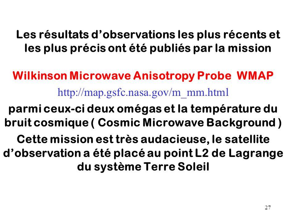 27 Les résultats d'observations les plus récents et les plus précis ont été publiés par la mission Wilkinson Microwave Anisotropy Probe WMAP http://ma