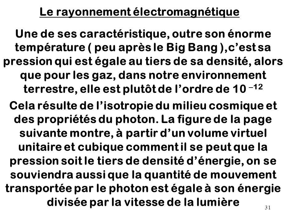 31 Le rayonnement électromagnétique Une de ses caractéristique, outre son énorme température ( peu après le Big Bang ),c'est sa pression qui est égale