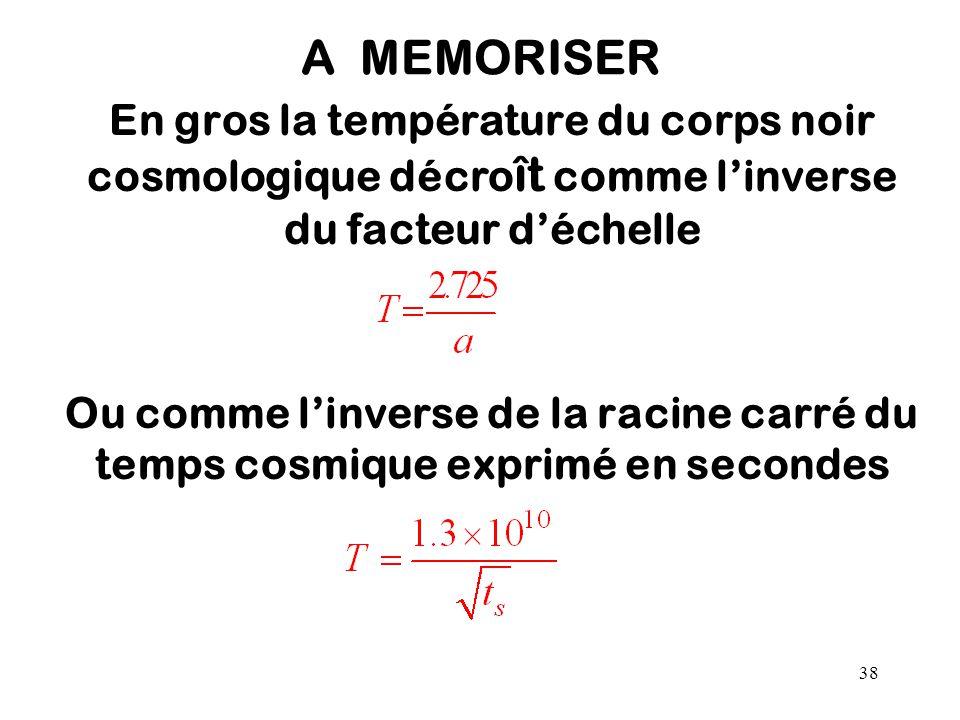38 A MEMORISER En gros la température du corps noir cosmologique décro ît comme l'inverse du facteur d'échelle Ou comme l'inverse de la racine carré d