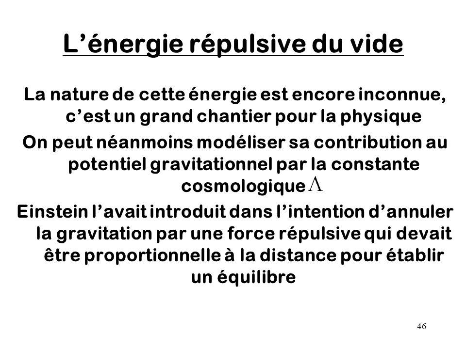 46 L'énergie répulsive du vide La nature de cette énergie est encore inconnue, c'est un grand chantier pour la physique On peut néanmoins modéliser sa