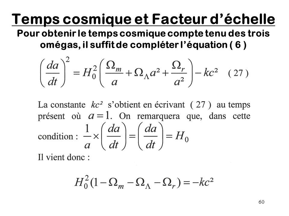 60 Temps cosmique et Facteur d'échelle Pour obtenir le temps cosmique compte tenu des trois omégas, il suffit de compléter l'équation ( 6 )