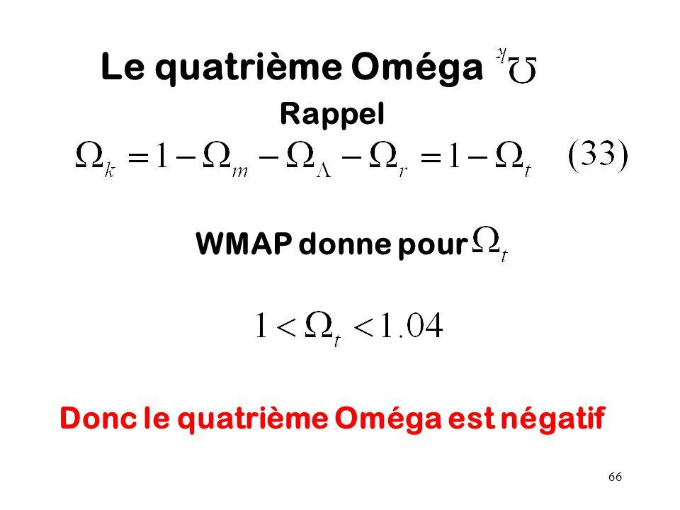 66 Le quatrième Oméga Rappel WMAP donne pour Donc le quatrième Oméga est négatif
