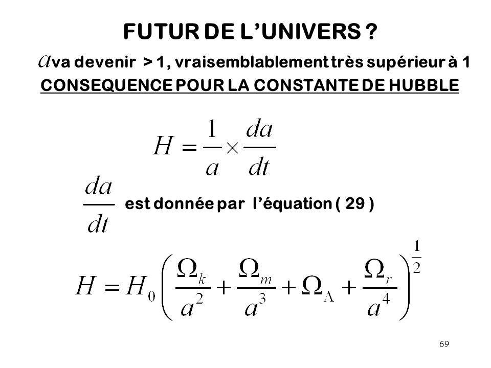 69 FUTUR DE L'UNIVERS ? va devenir > 1, vraisemblablement très supérieur à 1 CONSEQUENCE POUR LA CONSTANTE DE HUBBLE est donnée par l'équation ( 29 )