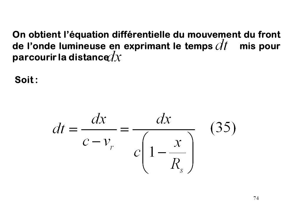 74 On obtient l'équation différentielle du mouvement du front de l'onde lumineuse en exprimant le temps mis pour parcourir la distance Soit :