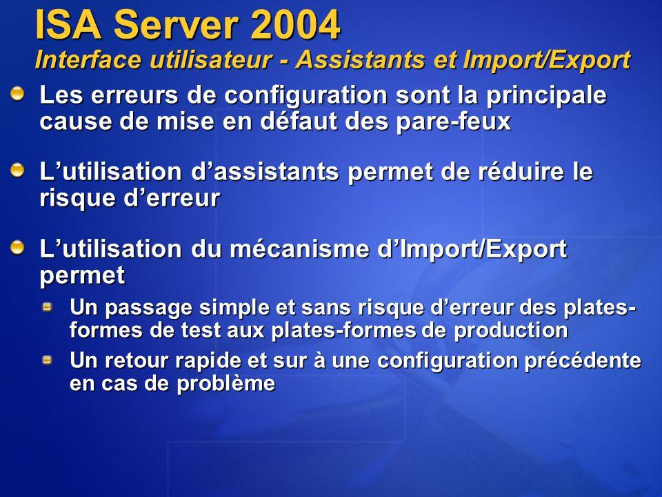 Les erreurs de configuration sont la principale cause de mise en défaut des pare-feux L'utilisation d'assistants permet de réduire le risque d'erreur L'utilisation du mécanisme d'Import/Export permet Un passage simple et sans risque d'erreur des plates- formes de test aux plates-formes de production Un retour rapide et sur à une configuration précédente en cas de problème ISA Server 2004 Interface utilisateur - Assistants et Import/Export
