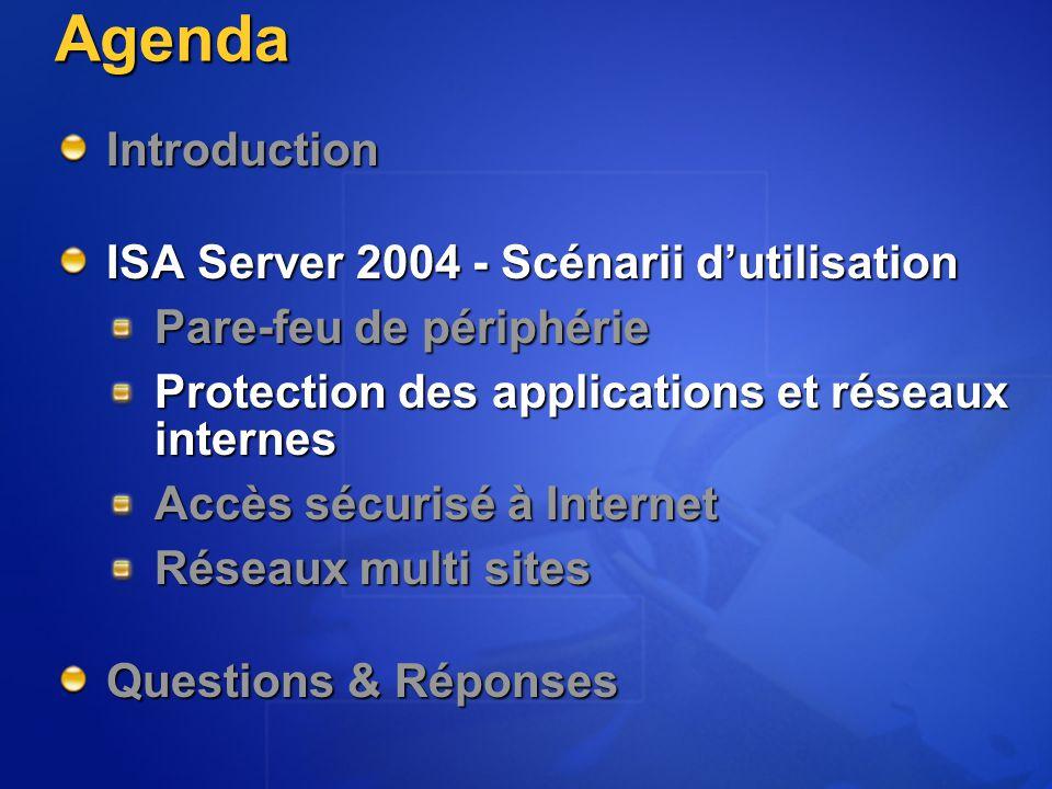 Agenda Introduction ISA Server 2004 - Scénarii d'utilisation Pare-feu de périphérie Protection des applications et réseaux internes Accès sécurisé à I