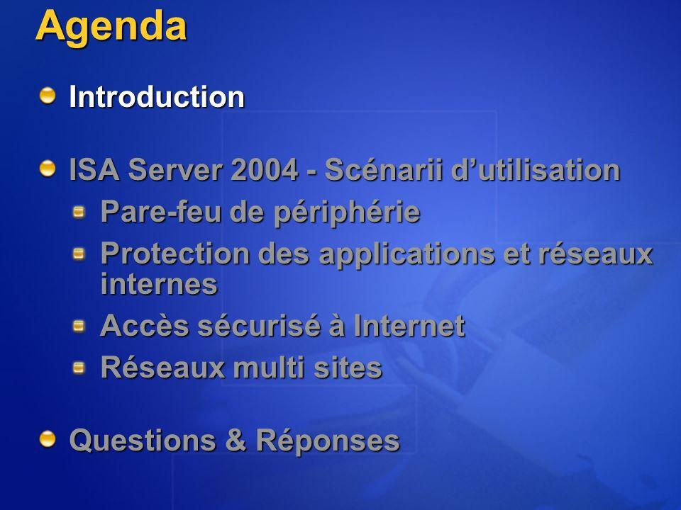 Les fonctionnalités du produit à des besoins spécifiques via un SDK et une offre de produits compagnons riche Les temps d'accès à l'information et la bande passante utilisée via un cache haute performance L'accès à Internet et au ressources interne via la mise en œuvre centralisée de stratégies Les ressources de l'entreprise des attaques et intrusions via un pare-feu permettant le filtrage applicatif Microsoft ISA Server 2004 Protéger, Contrôler, Optimiser et Etendre Contrôler Optimiser Protéger Etendre