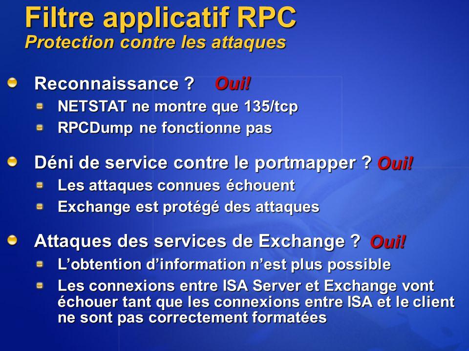 Reconnaissance ? NETSTAT ne montre que 135/tcp RPCDump ne fonctionne pas Déni de service contre le portmapper ? Les attaques connues échouent Exchange