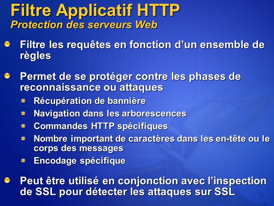 Filtre Applicatif HTTP Protection des serveurs Web Filtre les requêtes en fonction d'un ensemble de règles Permet de se protéger contre les phases de