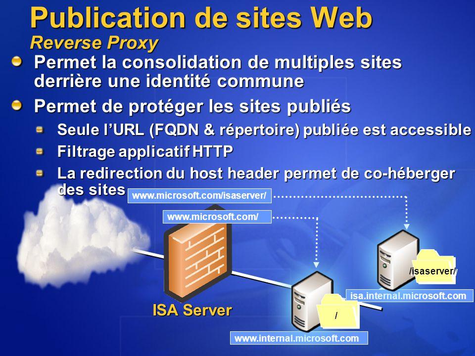 isa.internal.microsoft.com www.internal.microsoft.com Permet la consolidation de multiples sites derrière une identité commune Permet de protéger les sites publiés Seule l'URL (FQDN & répertoire) publiée est accessible Filtrage applicatif HTTP La redirection du host header permet de co-héberger des sites /isaserver/ / / Publication de sites Web Reverse Proxy www.microsoft.com/isaserver/ www.microsoft.com/ ISA Server