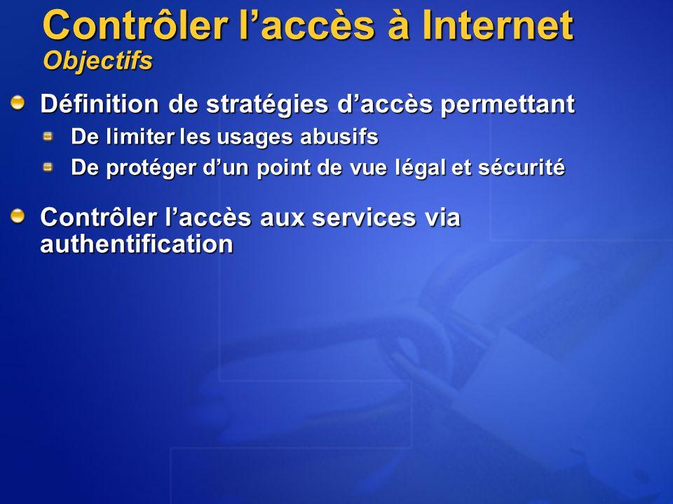 Contrôler l'accès à Internet Objectifs Définition de stratégies d'accès permettant De limiter les usages abusifs De protéger d'un point de vue légal et sécurité Contrôler l'accès aux services via authentification