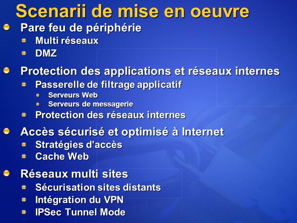 Scenarii de mise en oeuvre Pare feu de périphérie Multi réseaux DMZ Protection des applications et réseaux internes Passerelle de filtrage applicatif