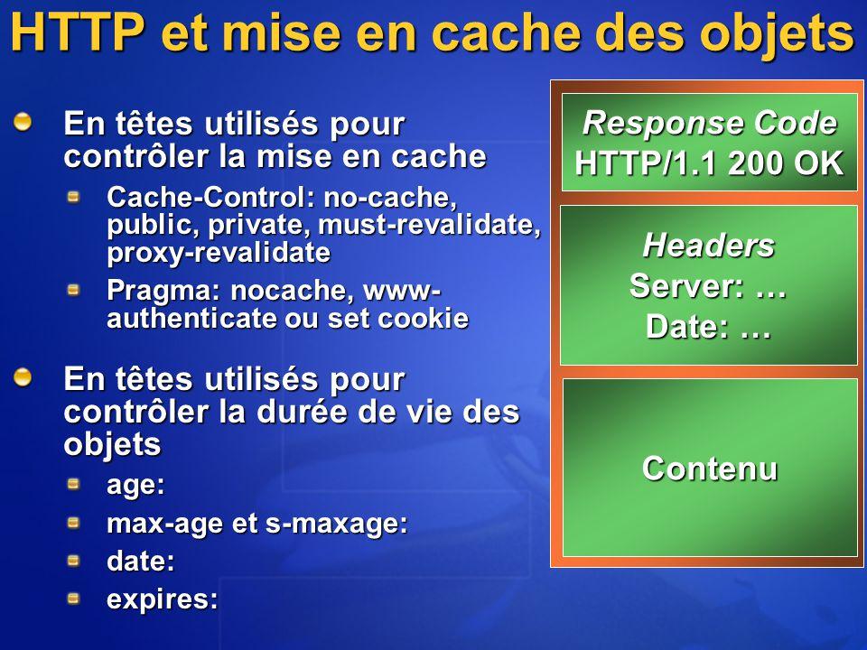 HTTP et mise en cache des objets En têtes utilisés pour contrôler la mise en cache Cache-Control: no-cache, public, private, must-revalidate, proxy-revalidate Pragma: nocache, www- authenticate ou set cookie En têtes utilisés pour contrôler la durée de vie des objets age: max-age et s-maxage: date:expires: Response Code HTTP/1.1 200 OK Headers Server: … Date: … Contenu