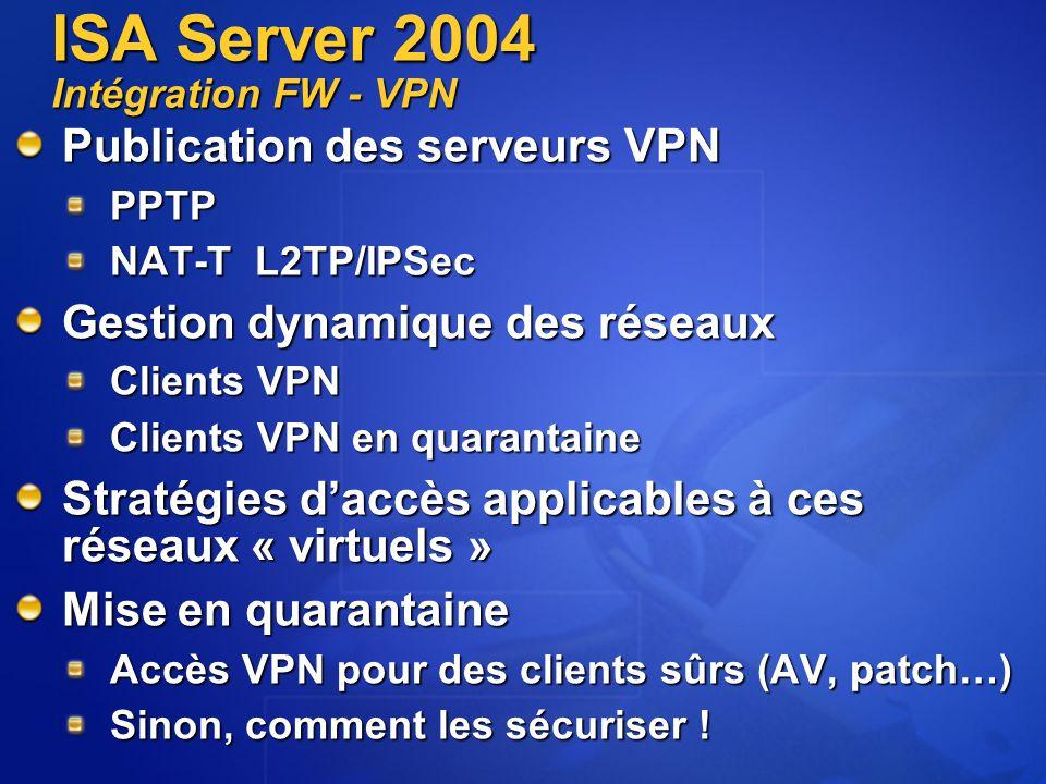ISA Server 2004 Intégration FW - VPN Publication des serveurs VPN PPTP NAT-T L2TP/IPSec Gestion dynamique des réseaux Clients VPN Clients VPN Clients