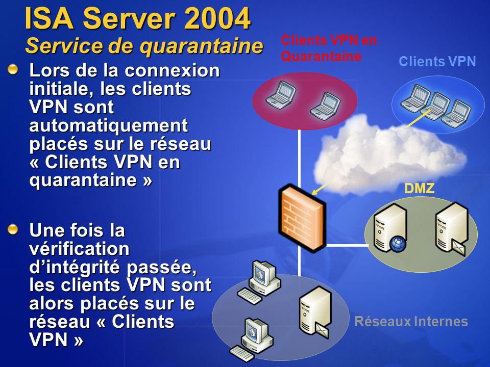 ISA Server 2004 Service de quarantaine Réseaux Internes Clients VPN DMZ Clients VPN en Quarantaine Lors de la connexion initiale, les clients VPN sont automatiquement placés sur le réseau « Clients VPN en quarantaine » Une fois la vérification d'intégrité passée, les clients VPN sont alors placés sur le réseau « Clients VPN »