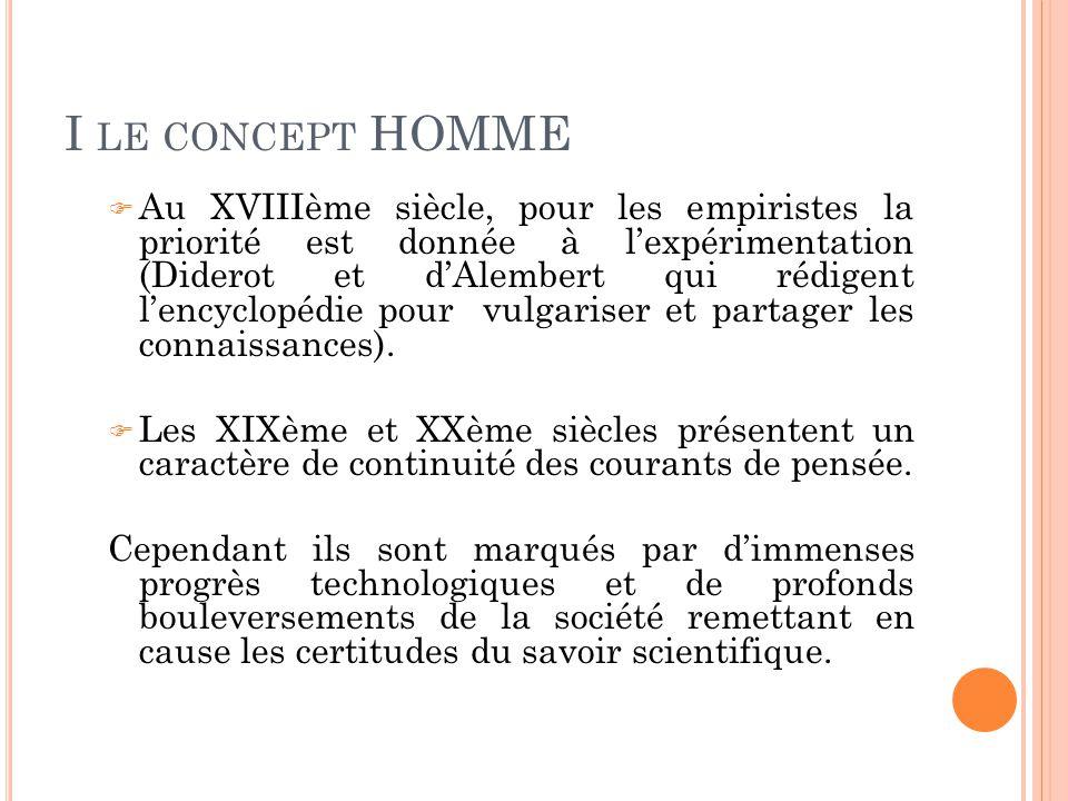 I LE CONCEPT HOMME  Au XVIIIème siècle, pour les empiristes la priorité est donnée à l'expérimentation (Diderot et d'Alembert qui rédigent l'encyclopédie pour vulgariser et partager les connaissances).