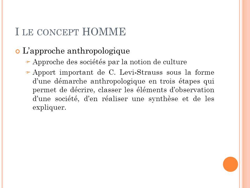 I LE CONCEPT HOMME L'approche anthropologique  Approche des sociétés par la notion de culture  Apport important de C. Levi-Strauss sous la forme d'u