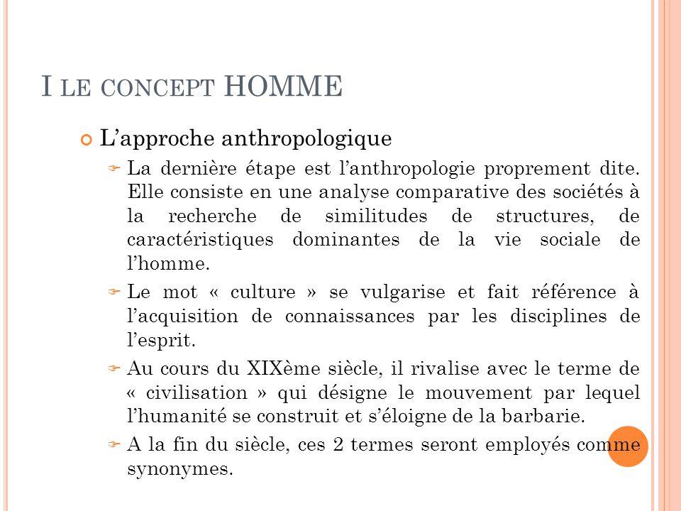 I LE CONCEPT HOMME L'approche anthropologique  La dernière étape est l'anthropologie proprement dite. Elle consiste en une analyse comparative des so