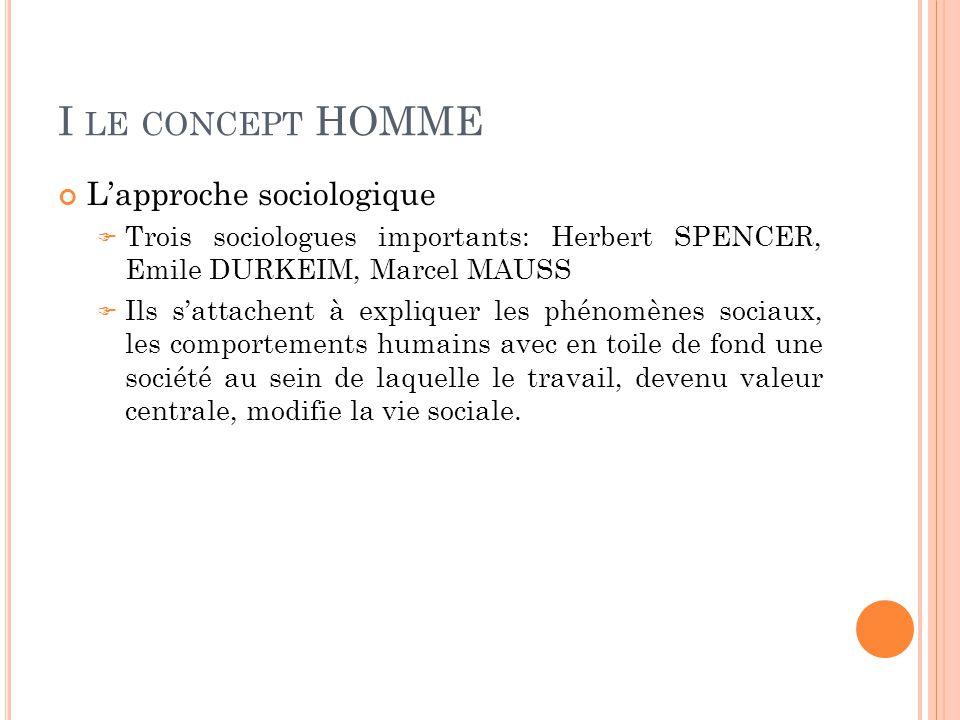 I LE CONCEPT HOMME L'approche sociologique  Trois sociologues importants: Herbert SPENCER, Emile DURKEIM, Marcel MAUSS  Ils s'attachent à expliquer