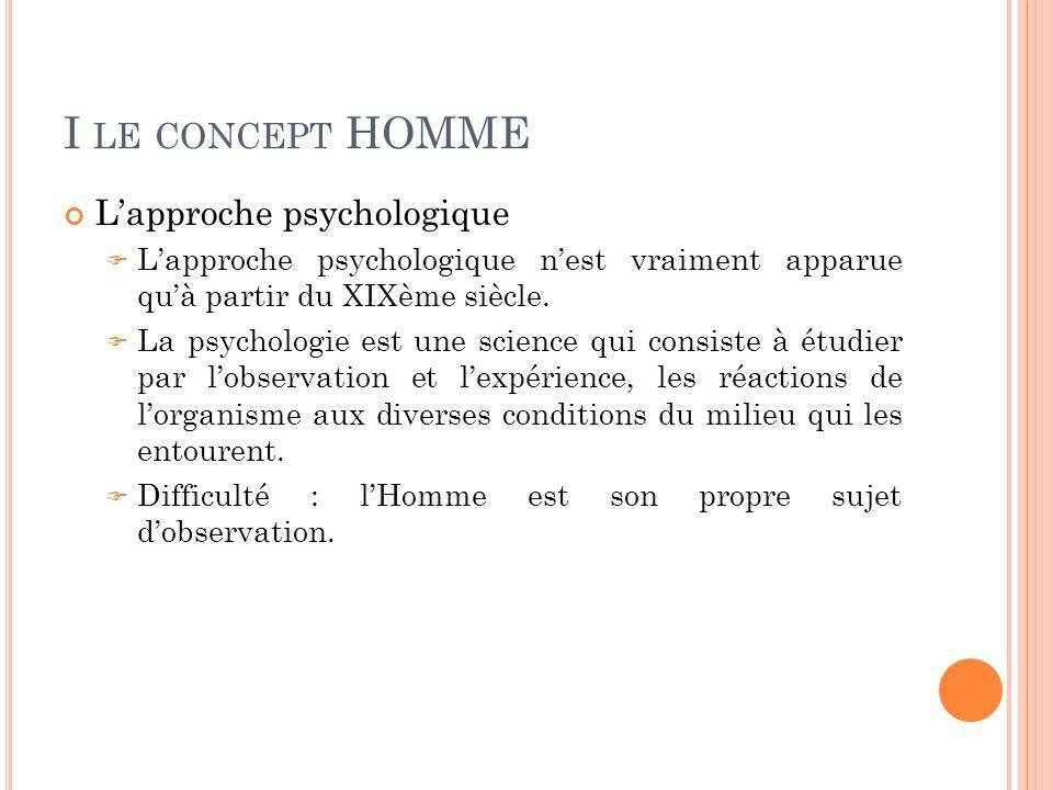 I LE CONCEPT HOMME L'approche psychologique  L'approche psychologique n'est vraiment apparue qu'à partir du XIXème siècle.  La psychologie est une s
