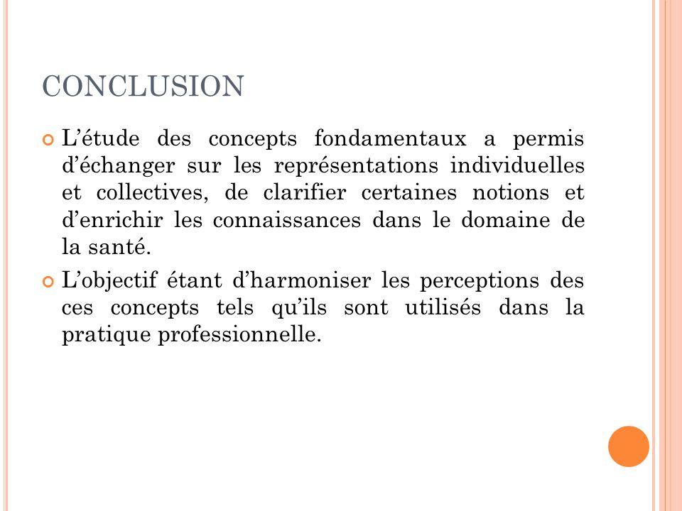 CONCLUSION L'étude des concepts fondamentaux a permis d'échanger sur les représentations individuelles et collectives, de clarifier certaines notions