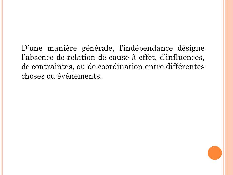 D'une manière générale, l'indépendance désigne l'absence de relation de cause à effet, d'influences, de contraintes, ou de coordination entre différen