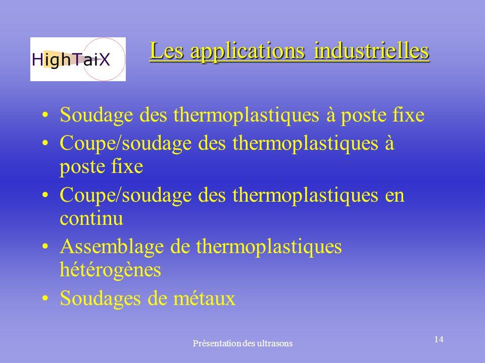 Présentation des ultrasons 14 Les applications industrielles Soudage des thermoplastiques à poste fixe Coupe/soudage des thermoplastiques à poste fixe