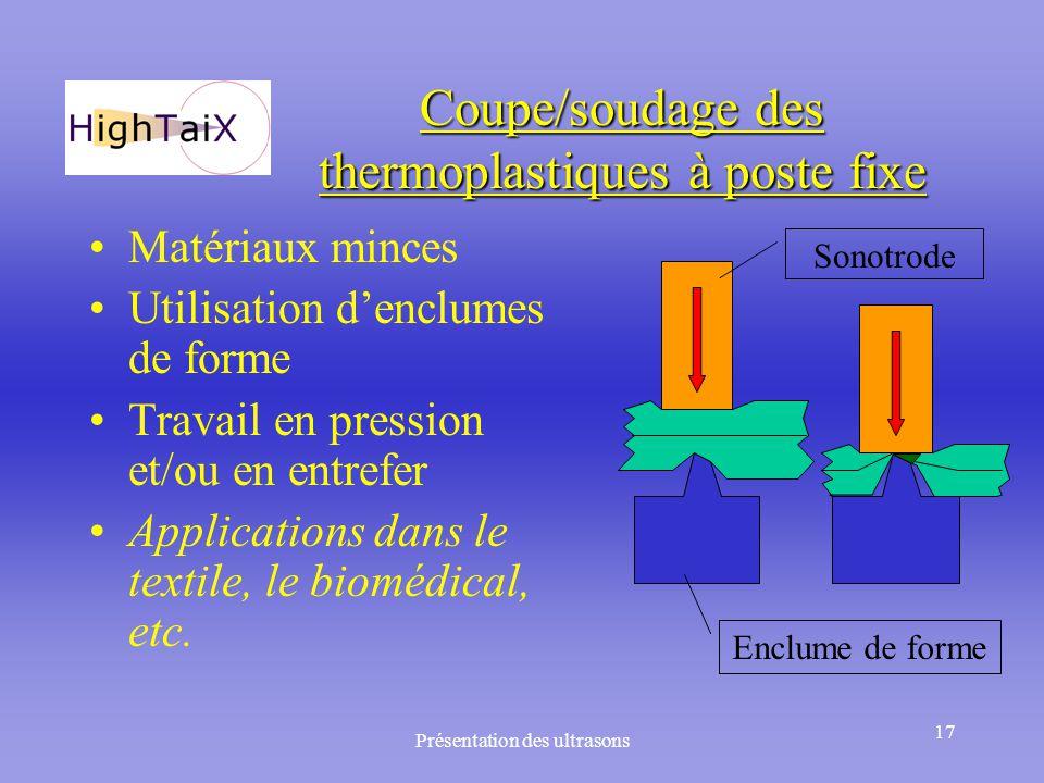 Présentation des ultrasons 17 Coupe/soudage des thermoplastiques à poste fixe Matériaux minces Utilisation d'enclumes de forme Travail en pression et/