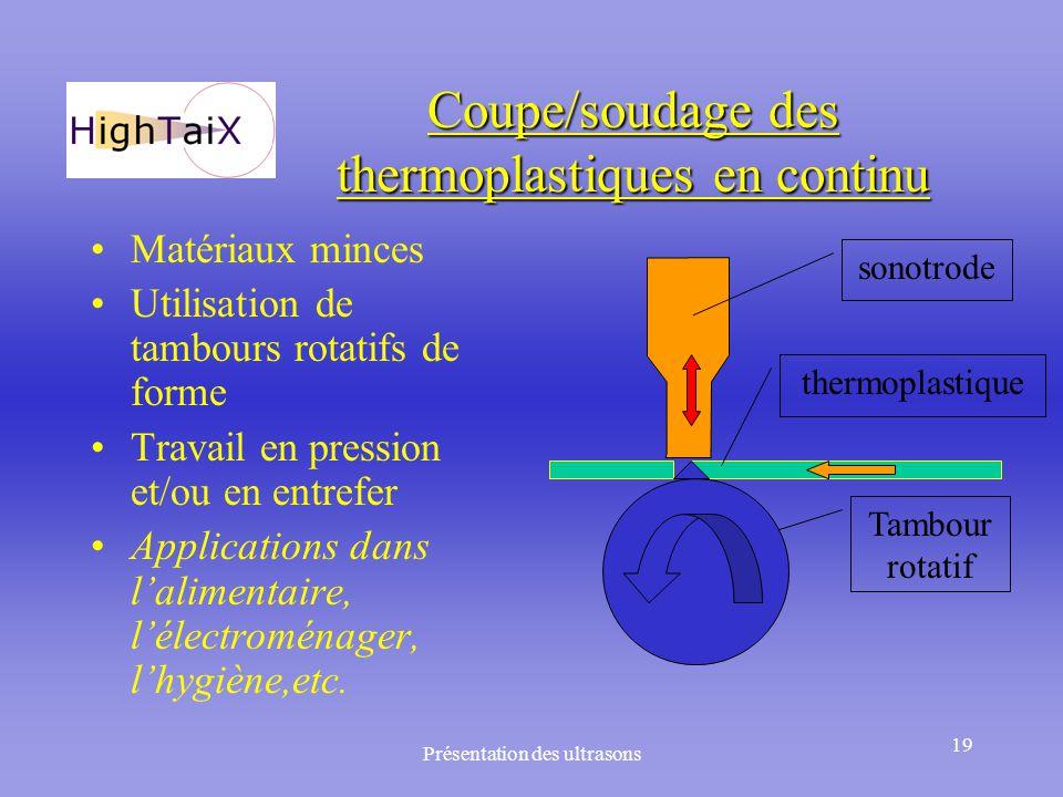 Présentation des ultrasons 19 Coupe/soudage des thermoplastiques en continu Matériaux minces Utilisation de tambours rotatifs de forme Travail en pres