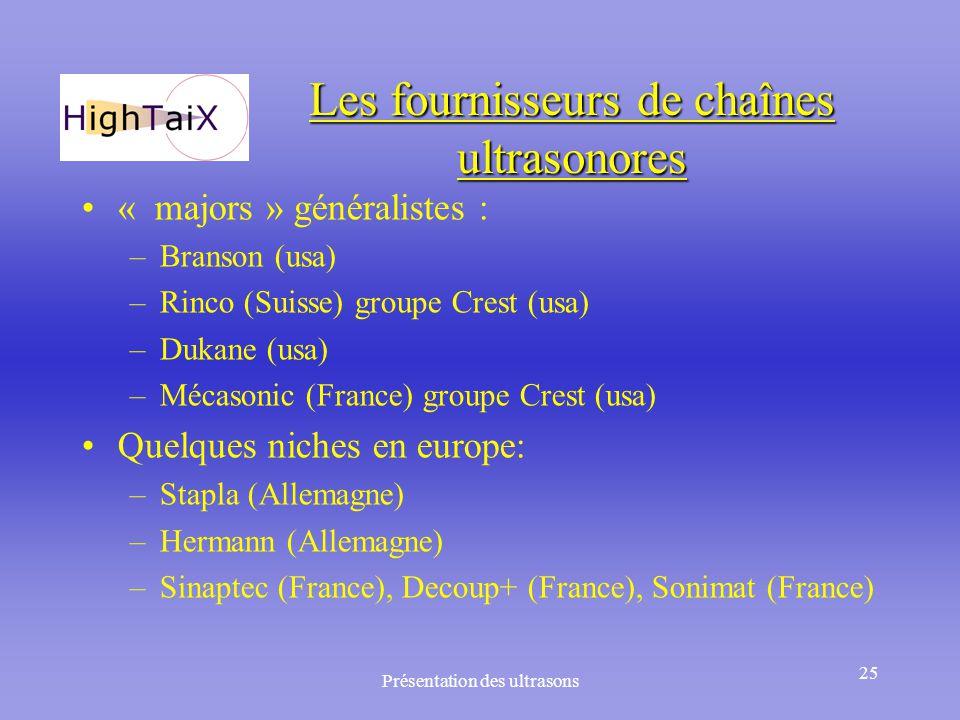 Présentation des ultrasons 25 Les fournisseurs de chaînes ultrasonores « majors » généralistes : –Branson (usa) –Rinco (Suisse) groupe Crest (usa) –Du