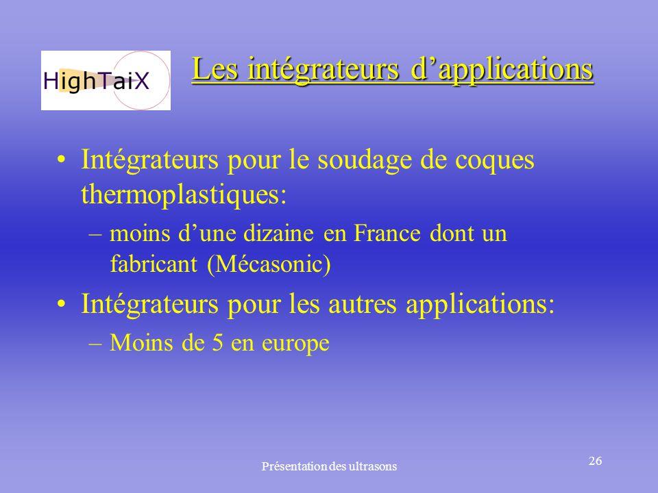Présentation des ultrasons 26 Les intégrateurs d'applications Intégrateurs pour le soudage de coques thermoplastiques: –moins d'une dizaine en France