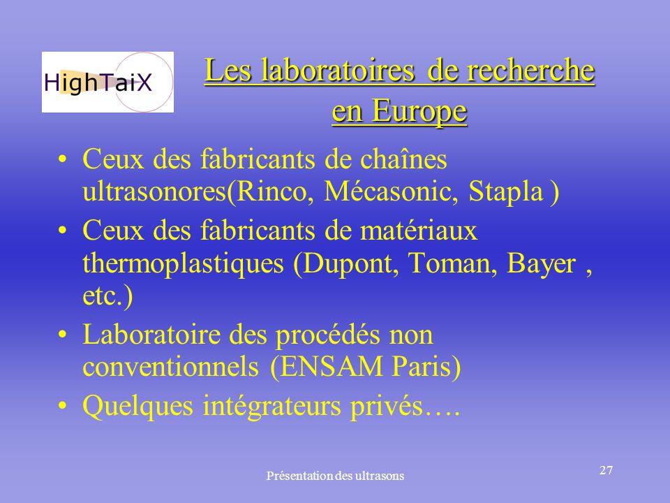 Présentation des ultrasons 27 Les laboratoires de recherche en Europe Ceux des fabricants de chaînes ultrasonores(Rinco, Mécasonic, Stapla ) Ceux des