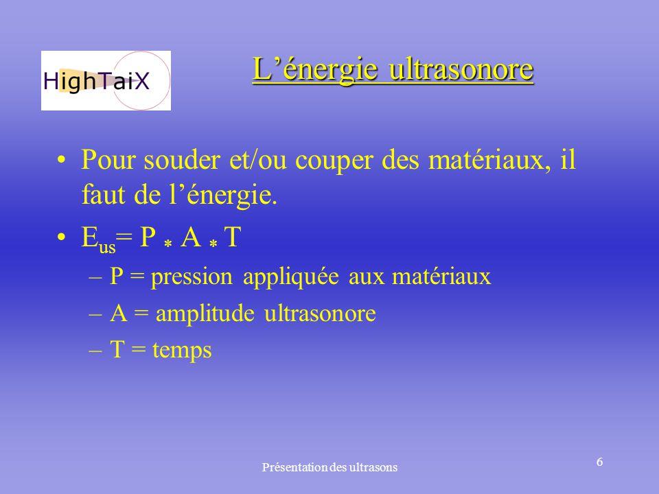 Présentation des ultrasons 6 L'énergie ultrasonore Pour souder et/ou couper des matériaux, il faut de l'énergie. E us = P * A * T –P = pression appliq