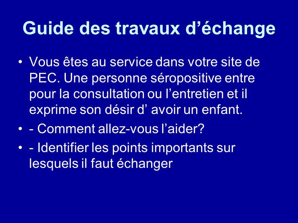 Guide des travaux d'échange Vous êtes au service dans votre site de PEC.
