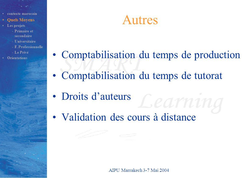 AIPU Marrakech 3-7 Mai 2004 Autres Comptabilisation du temps de production Comptabilisation du temps de tutorat Droits d'auteurs Validation des cours