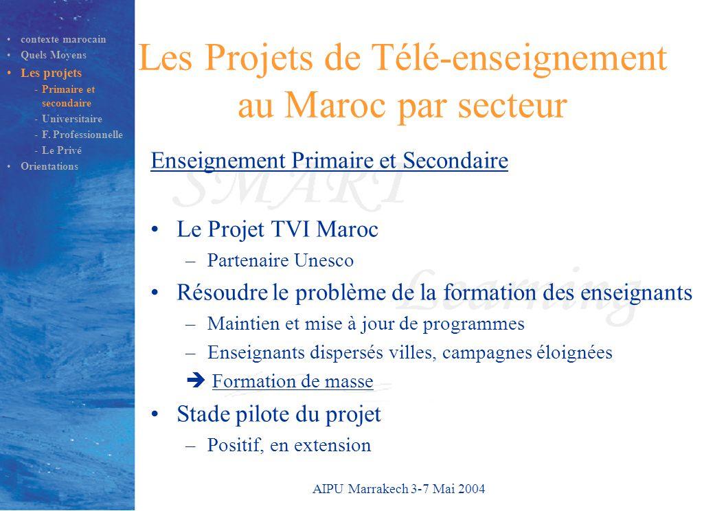 AIPU Marrakech 3-7 Mai 2004 Les Projets de Télé-enseignement au Maroc par secteur Enseignement Primaire et Secondaire Le Projet TVI Maroc –Partenaire Unesco Résoudre le problème de la formation des enseignants –Maintien et mise à jour de programmes –Enseignants dispersés villes, campagnes éloignées  Formation de masse Stade pilote du projet –Positif, en extension contexte marocain Quels Moyens Les projets -Primaire et secondaire -Universitaire -F.
