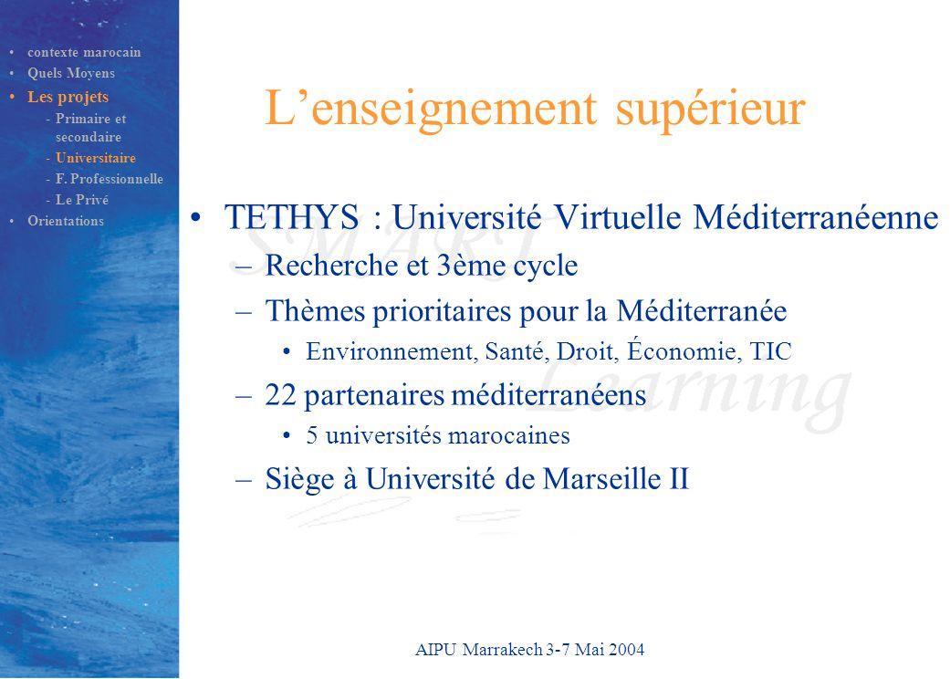 AIPU Marrakech 3-7 Mai 2004 L'enseignement supérieur TETHYS : Université Virtuelle Méditerranéenne –Recherche et 3ème cycle –Thèmes prioritaires pour